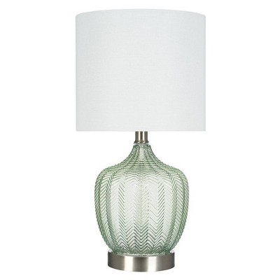 """18"""" Glass Accent Lamp Green (Includes LED Light Bulb) - Cresswell Lighting"""