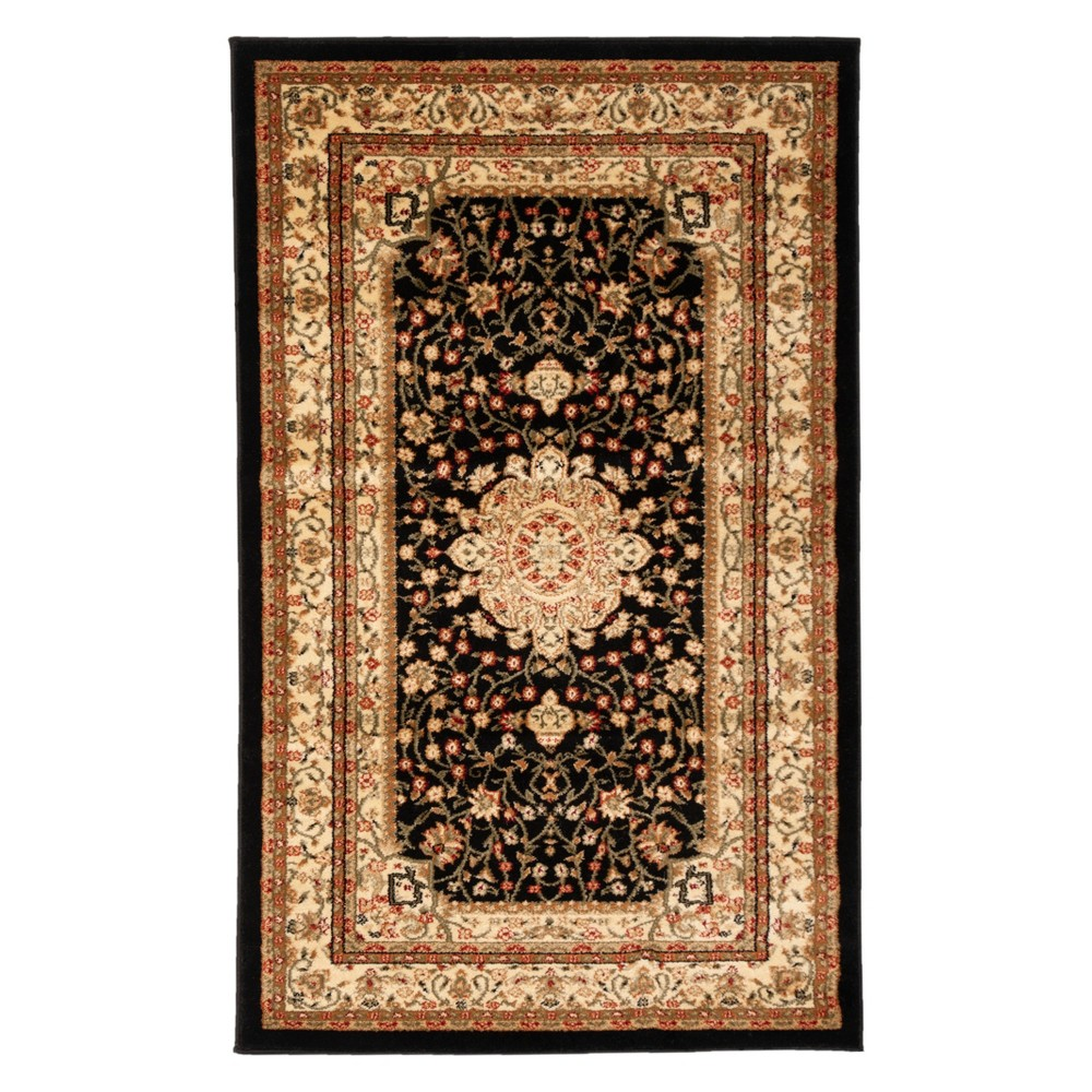 33X53 Floral Loomed Accent Rug Black/Ivory - Safavieh Cheap