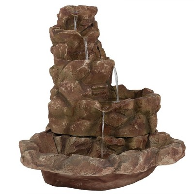 """41.5"""" Lighted Stone Springs Outdoor Water Fountain with LED Lights - Sunnydaze Decor"""