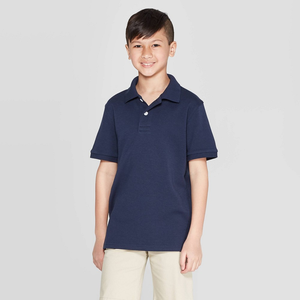 Boys' Short Sleeve Interlock Polo Shirt - Cat & Jack Navy (Blue) S