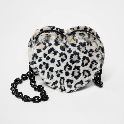 Girls' Faux Fur Leopard Print Heart Crossbody Bag - art class™ Black - image 1 of 1