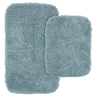 2pc Jazz Shaggy Washable Nylon Bath Rug Set Basin Blue - Garland
