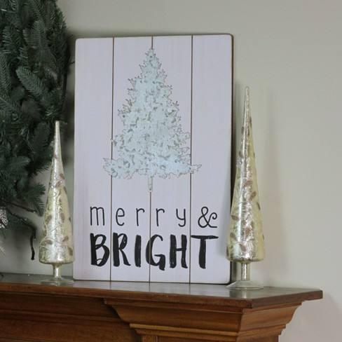 Ganz 20 Merry And Bright Galvanized Metal Christmas Tree Wall Hanging