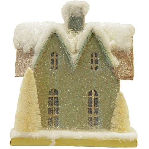 """Northlight 9.25"""" Snow Covered House with White Trees Christmas Tabletop Decoration - image 1 of 1"""