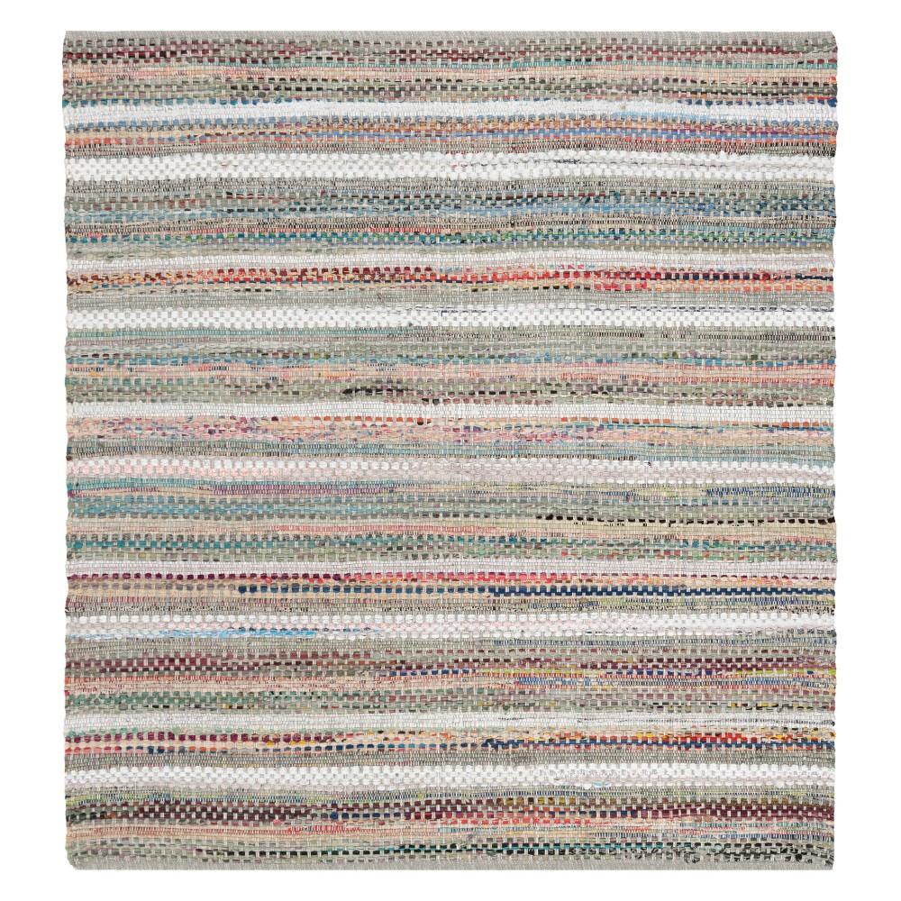 Gray Stripe Woven Square Area Rug 6'X6' - Safavieh