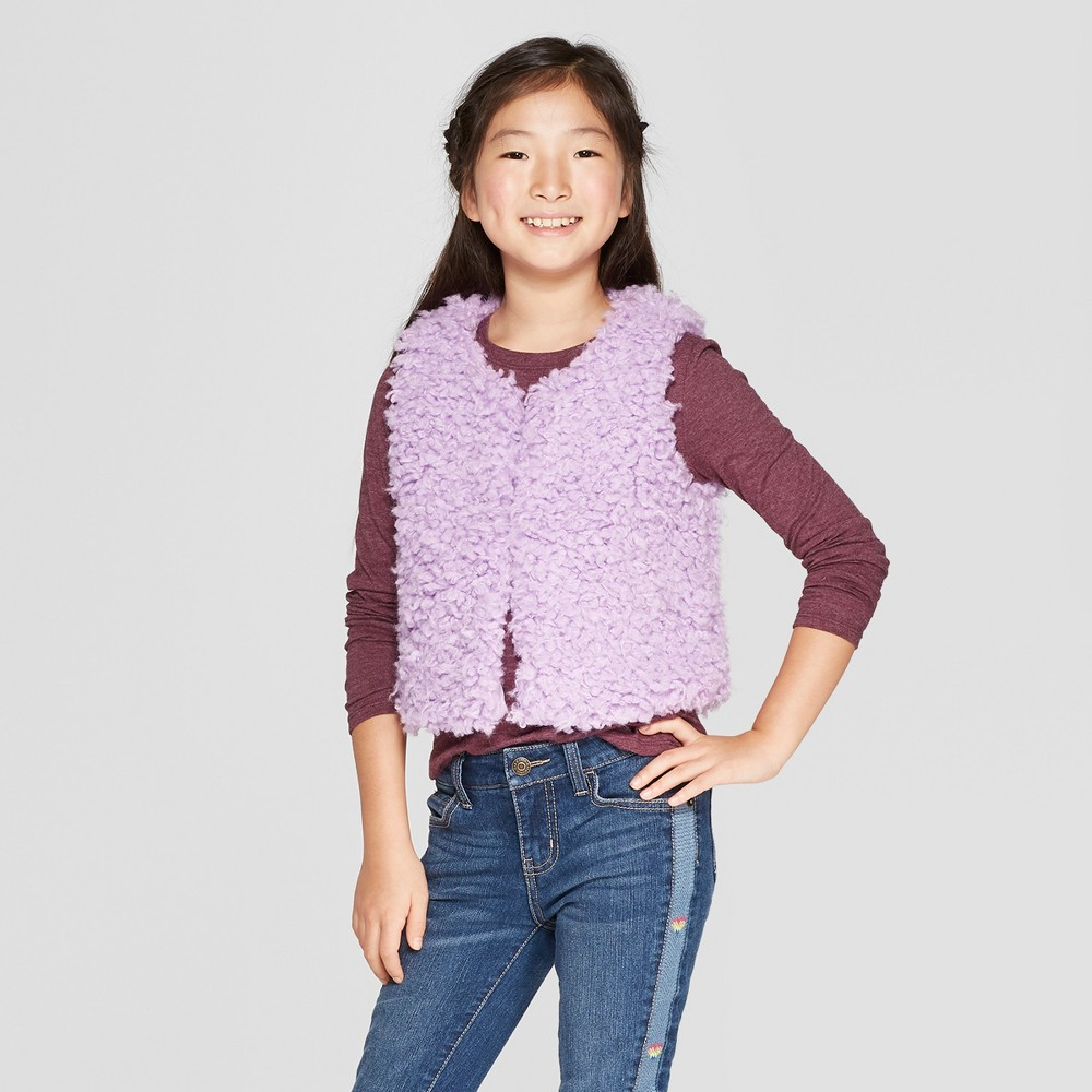 Girls' Faux Fur Vest - Cat & Jack Light Purple L