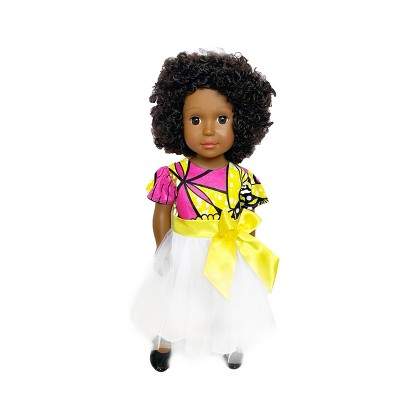 "Ikuzi Dolls Pink & Yellow Dress Doll with Black Hair 18"" Fashion Doll"