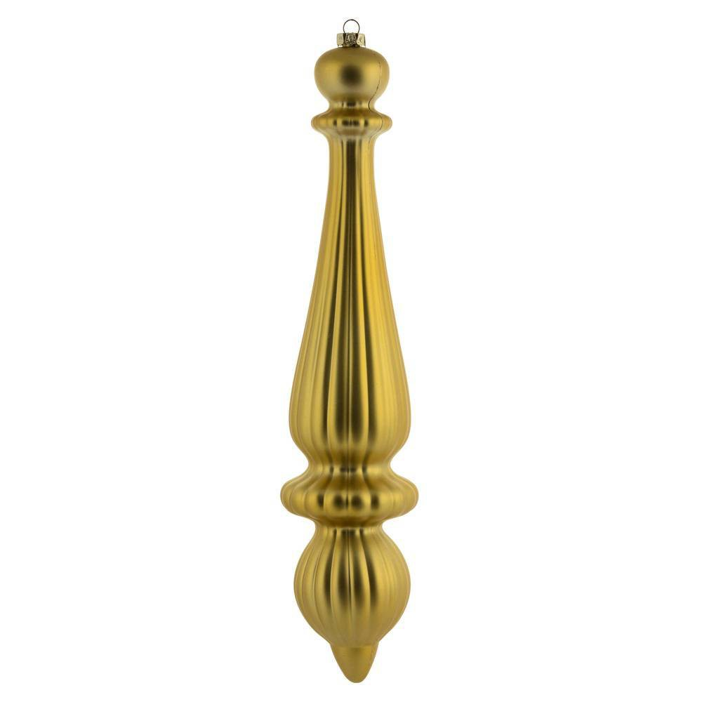 "Image of ""2ct Vickerman 14"""" Matte Finial Drop, UV Coated Ornament Set Gold"""