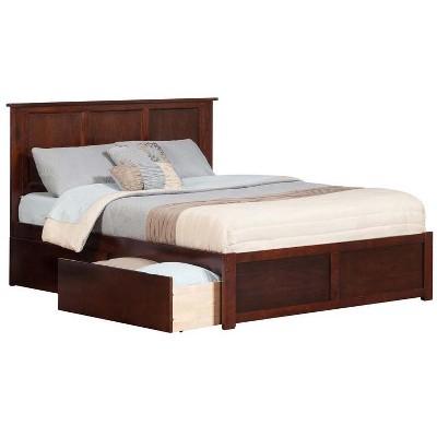 Madison Queen Flat Panel Foot Board w/ Urban Bed Drawers Antique Walnut - Atlantic Furniture