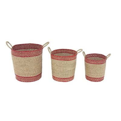 "Olivia & May 15""x17""x20"" Set of 3 Round Seagrass Baskets"