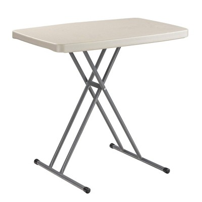 """20""""x30"""" Height Adjustable Personal Folding Card Table Speckled Gray - National Public Seating"""
