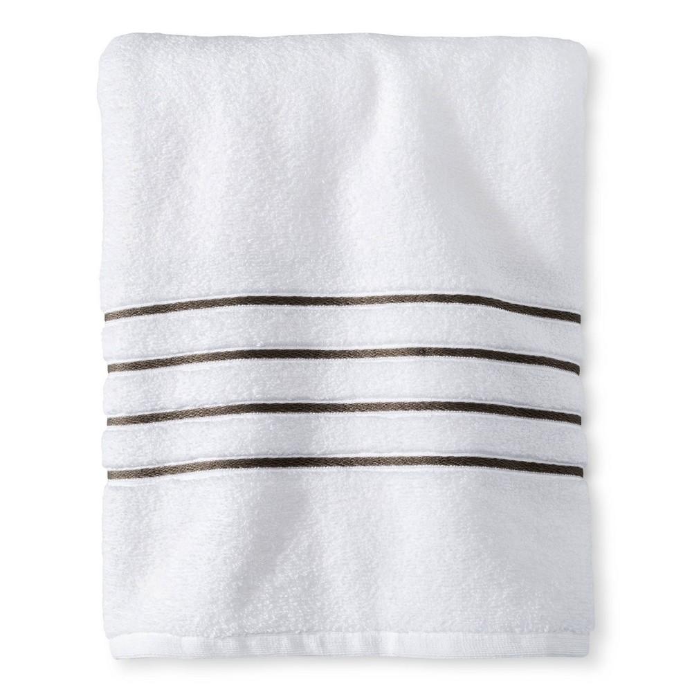 Bath Towel White Gray Stripe Fieldcrest 8482