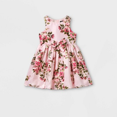 Zenzi Toddler Girls' Floral Tank with Bow Dress - Pink 12M