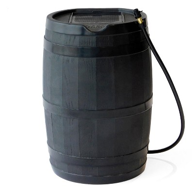 FCMP Outdoor RC45 Rain Barrel with Flat Back for Environmentally Friendly Watering of Outdoor Plants, Gardens, and Landscapes, Black