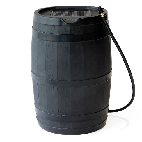 FCMP Outdoor RC45 Rain Barrel with Flat Back for Environmentally Friendly Watering of Outdoor Plants, Gardens, and Landscapes, Black - image 1 of 4