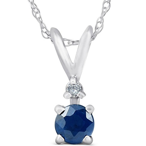 """Pompeii3 Diamond & Blue Sapphire Solitaire Pendant 14K White Gold With 18"""" Chain - image 1 of 4"""