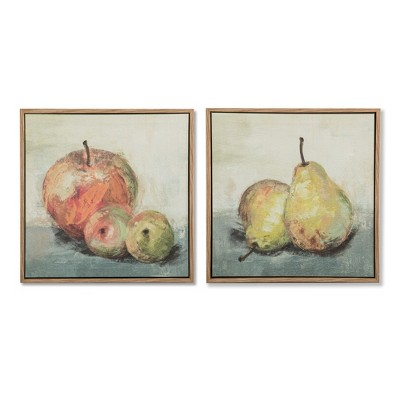 Set of 2 12 x1.75  Apples & Pears Framed Parchment Decorative Wall Art - Threshold™