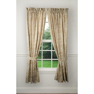 Ellis Curtain 2 panels Foliage Design Floating Leaves Window Tailored Pair Curtains With Ties