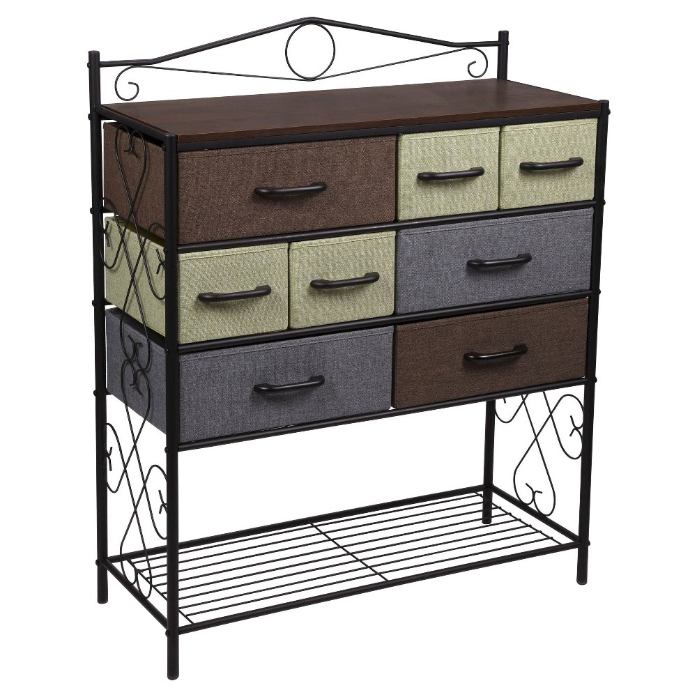Image of Household Essentials 8-Drawer Storage Cabinet with Bottom Shelf, Black Blue Brown Green