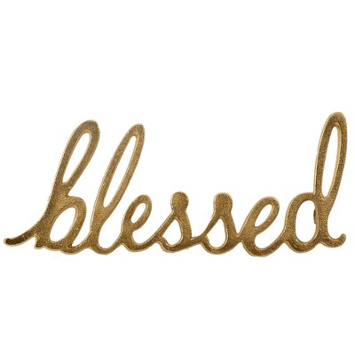 13.5 x5.1  'Blessed' Script Metal Words Decorative Wall Sculpture Light Gold - Threshold™