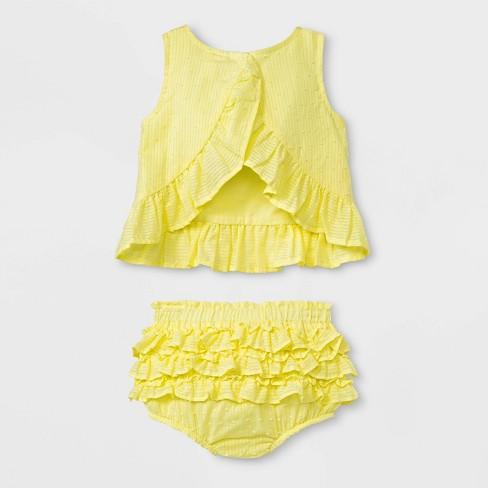 62c63946c2a5 Baby Girls  Sleeveless Clipspot Ruffle Tunic And Bloomer Set - Cat   Jack™  Yellow   Target