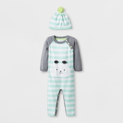 Baby Girls' Long Sleeve Bear Romper with Kanga Pocket and Embroidery - Cloud Island™ Blue 3-6M