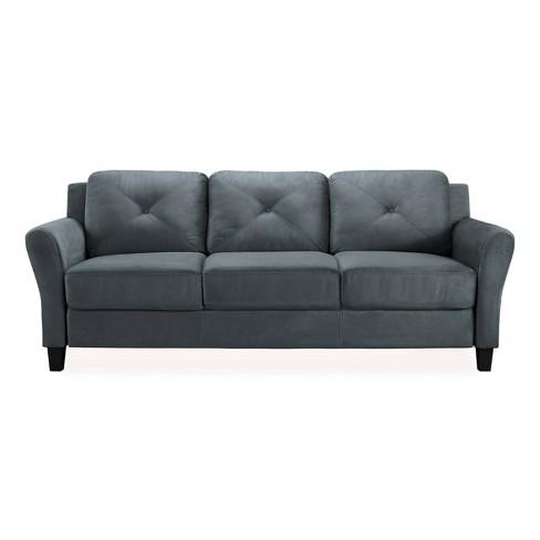 Harper Tufted Microfiber Sofa Dark Gray - Studio Living