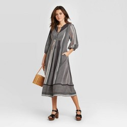 Women's Striped Long Sleeve V-Neck Midi Dress - Universal Thread™ Gray