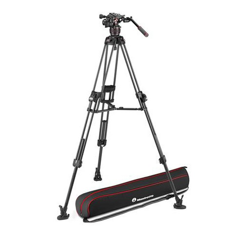 Manfrotto Nitrotech 608 Series Fluid Video Head with 645 Fast Twin Leg Carbon Fiber Tripod & Mid-Level Spreader, 17.6 lb Capacity - image 1 of 4