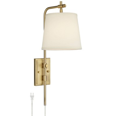 Barnes and Ivy Seline Warm Gold Adjustable Plug-In Wall Lamp