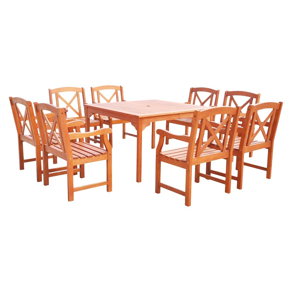 Vifah Malibu Eco-friendly 9 Piece Outdoor Hardwood Dining Set with Square Table and Arm Chairs, Urban Safari Tan