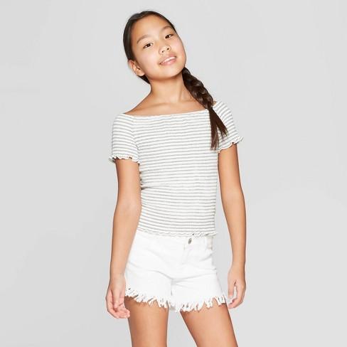 Girls' Short Sleeve Smocked T-Shirt - art class™ White/Black - image 1 of 4