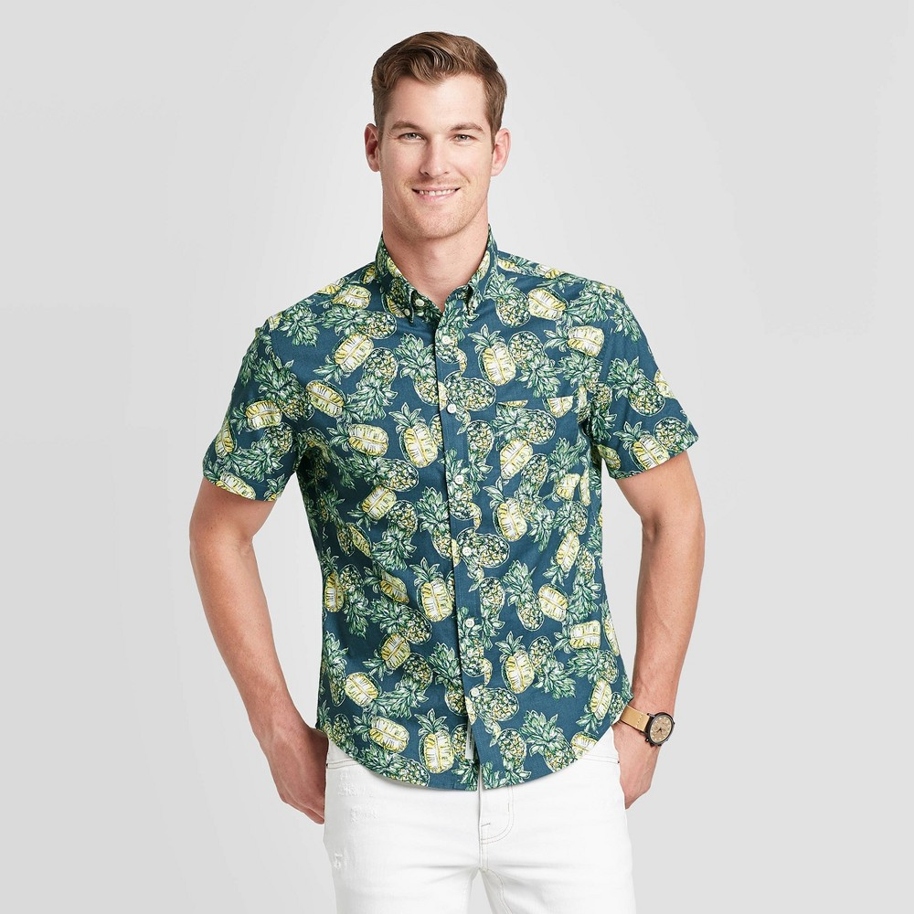 Men's Standard Fit Pineapple Print Short Sleeve Poplin Button-Down Shirt - Goodfellow & Co InkPad S was $19.99 now $12.0 (40.0% off)