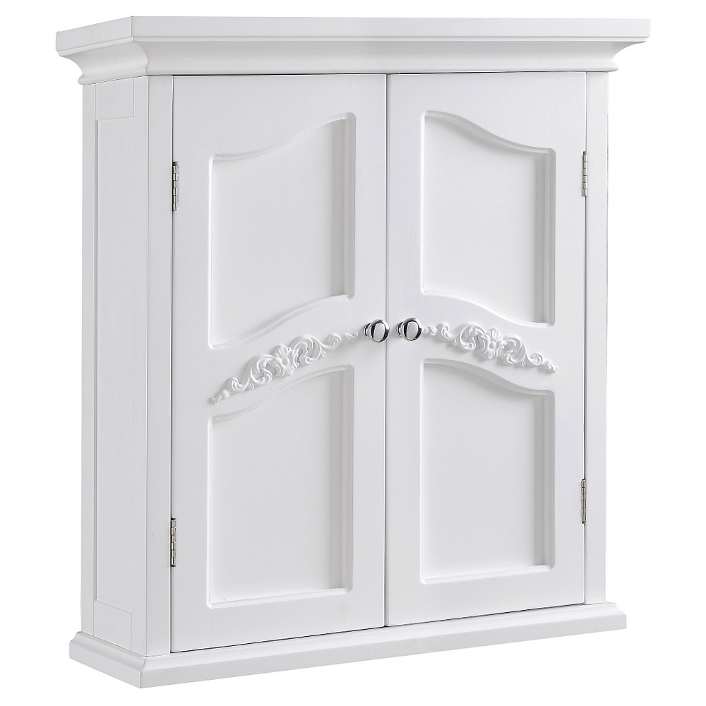Elegant Home Fashions Versailles Wall Cabinet with 2 Doors - White