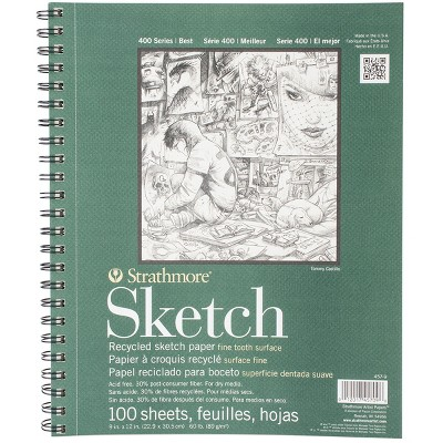 """Strathmore Recycled Sketch Spiral Paper Pad 9""""X12""""-100 Sheets"""