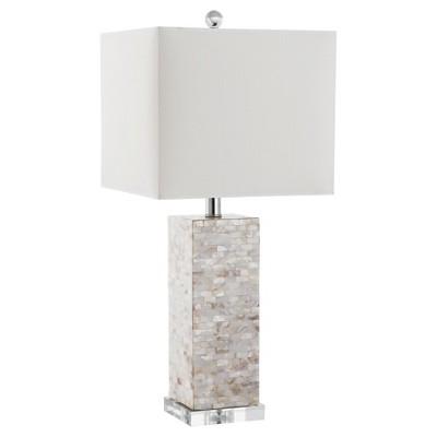 "26"" Homer Shell Table Lamp Cream (Includes CFL Light Bulb) - Safavieh"