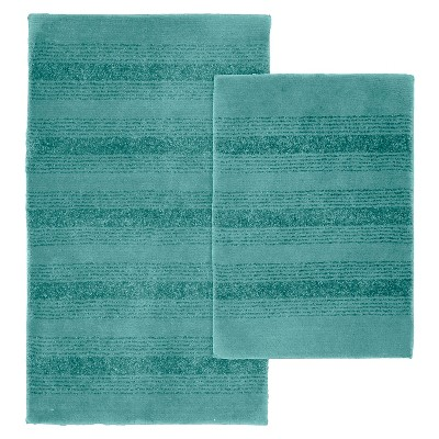 2pc Essence Washable Nylon Bath Rug Set Sea foam - Garland