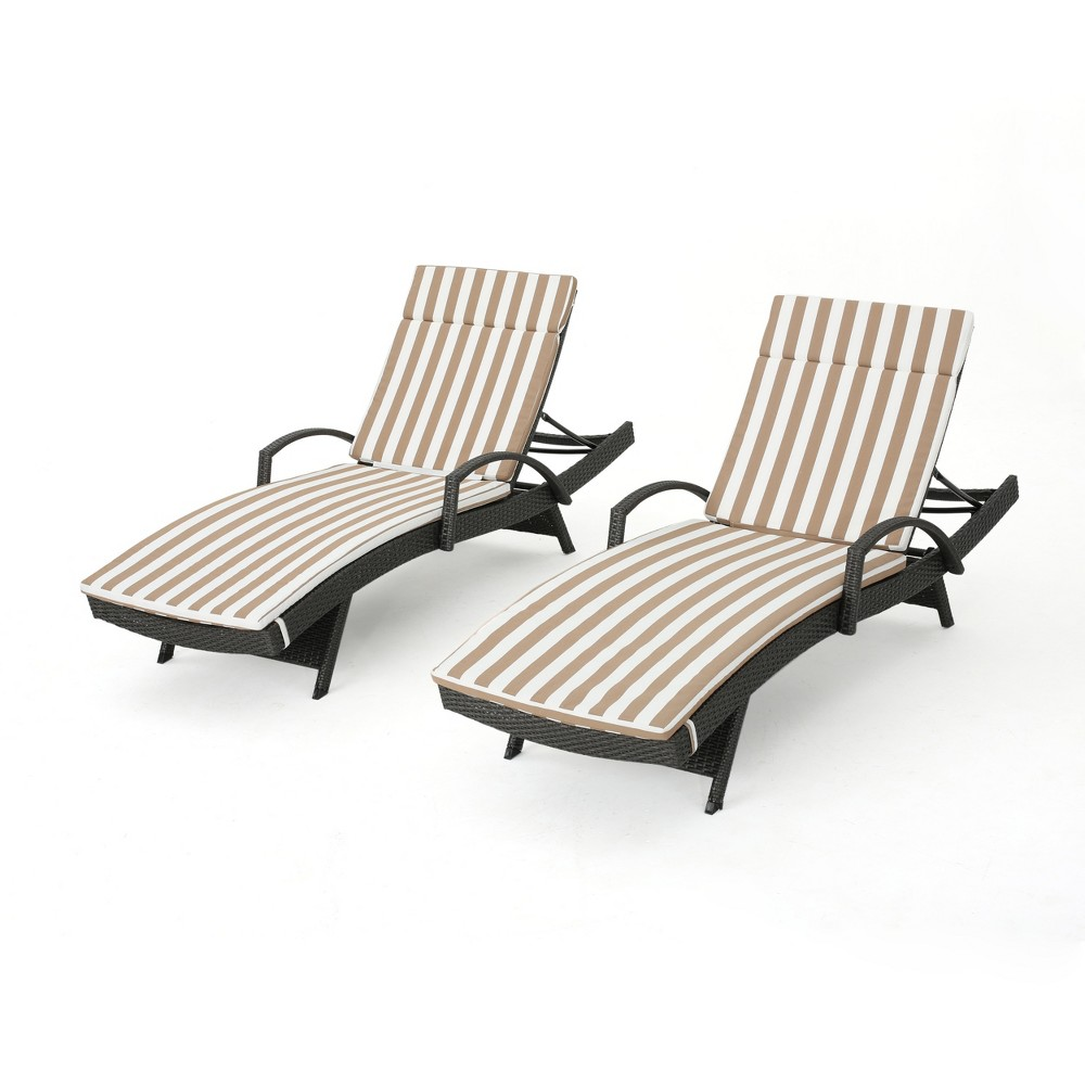 Salem Set of 2 Gray Wicker Adjustable Chaise Lounge with Arms - Brown/White Stripes - Christopher Knight Home