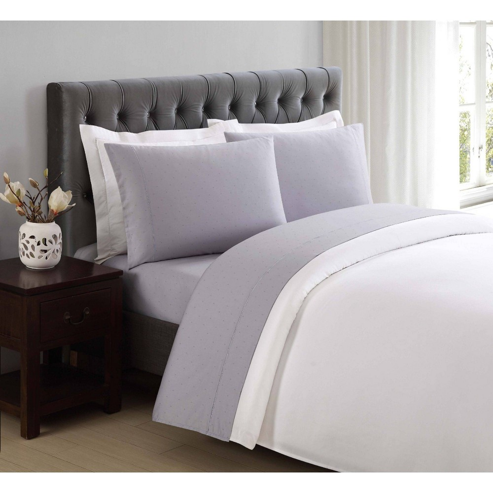 Image of King 310 Thread Count Classic Dot Printed Cotton Sheet Set Rain - Charisma