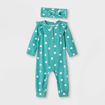 Baby Girls' Rib Polka Dot Romper with Headband - Cat & Jack™ Green 3-6M