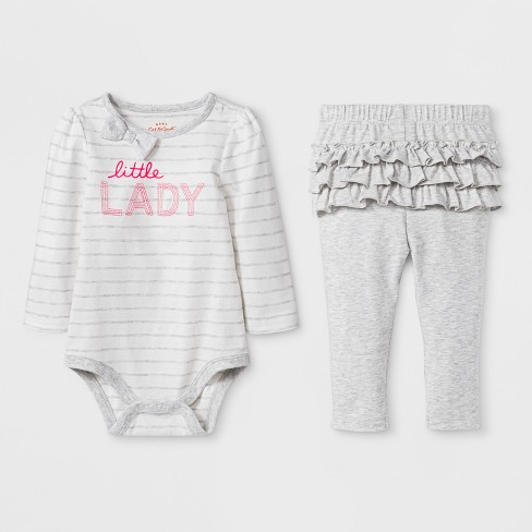 0d2e6cdfa1 Baby Girls  2pc Long Sleeve Bodysuit And Ruffle Leggings Set - Cat   Jack™  Gray 6-9M   Target