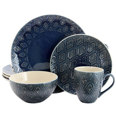 16pc Stoneware Lovely Tapestry Dinnerware Set Blue - Elama