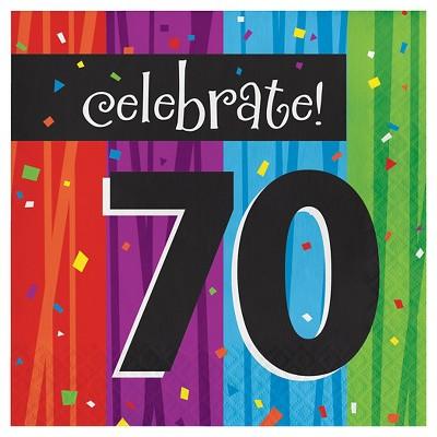 16ct Milestone Celebrations 70th Birthday Napkins
