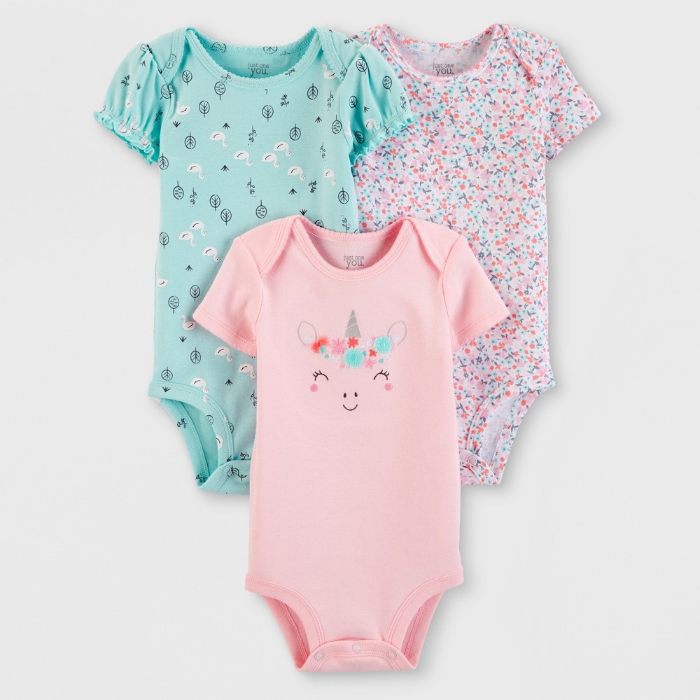 Baby Girls' 3pk Bodysuits - Just One You made by carter's Pink/Green 9M