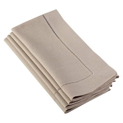 Hemstitched Dinner Napkins Taupe (Set of 4)