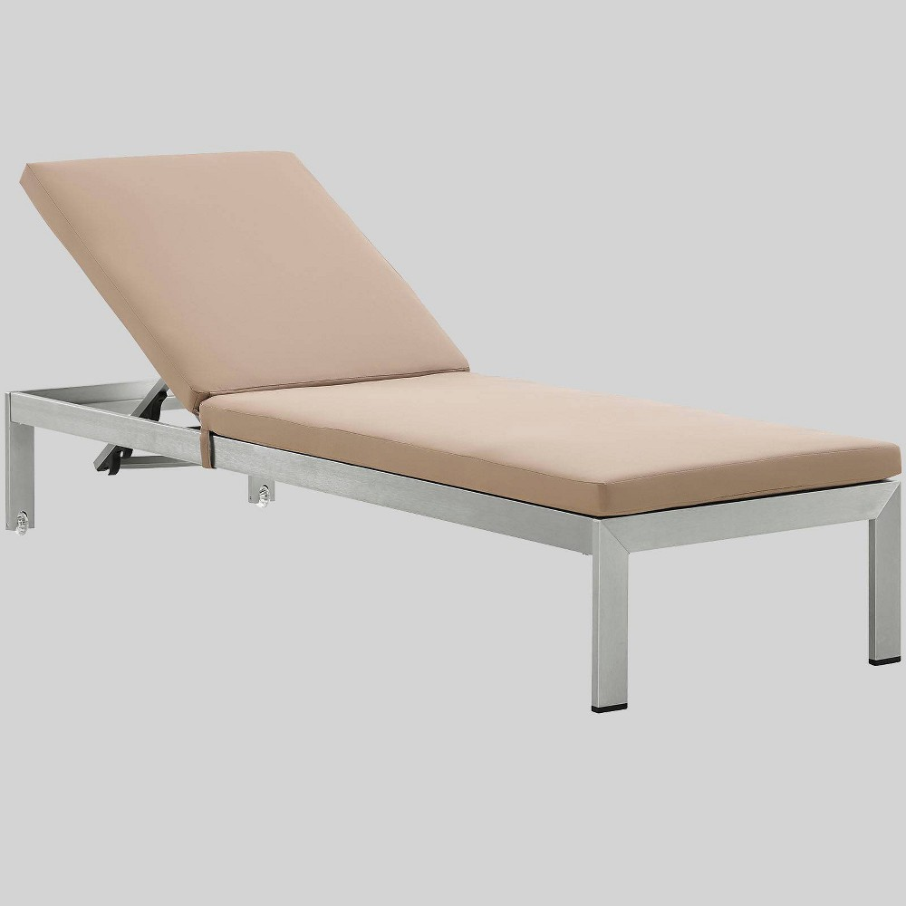 Shore Aluminum Outdoor Patio Chaise Lounge with Cushions - Mocha (Brown) - Modway