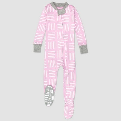 Honest Baby Girls' Square Print Footed Pajama - Purple