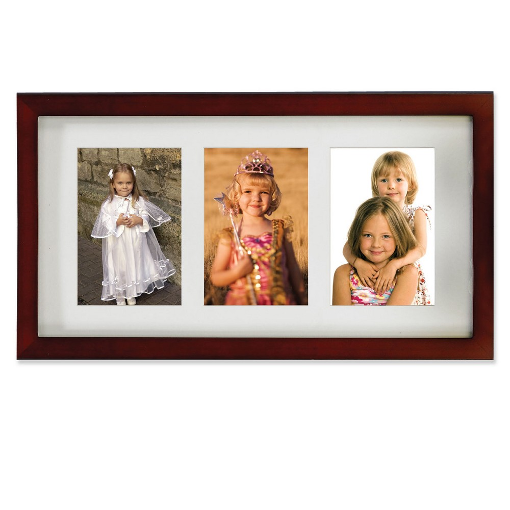 "Image of ""4""""x6"""" Triple Matted Wood Picture Frame Walnut (Brown) - Lawrence Frames"""