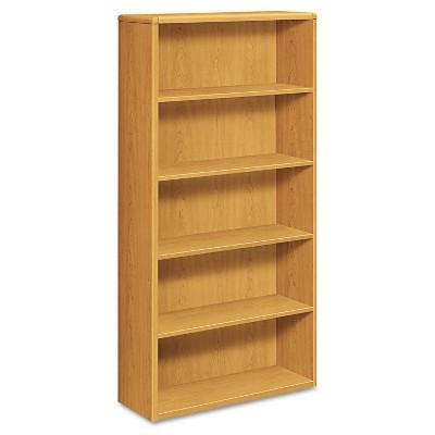 HON 10700 Series Wood Bookcase Five Shelf 36w x 13 1/8d x 71h Harvest 10755CC