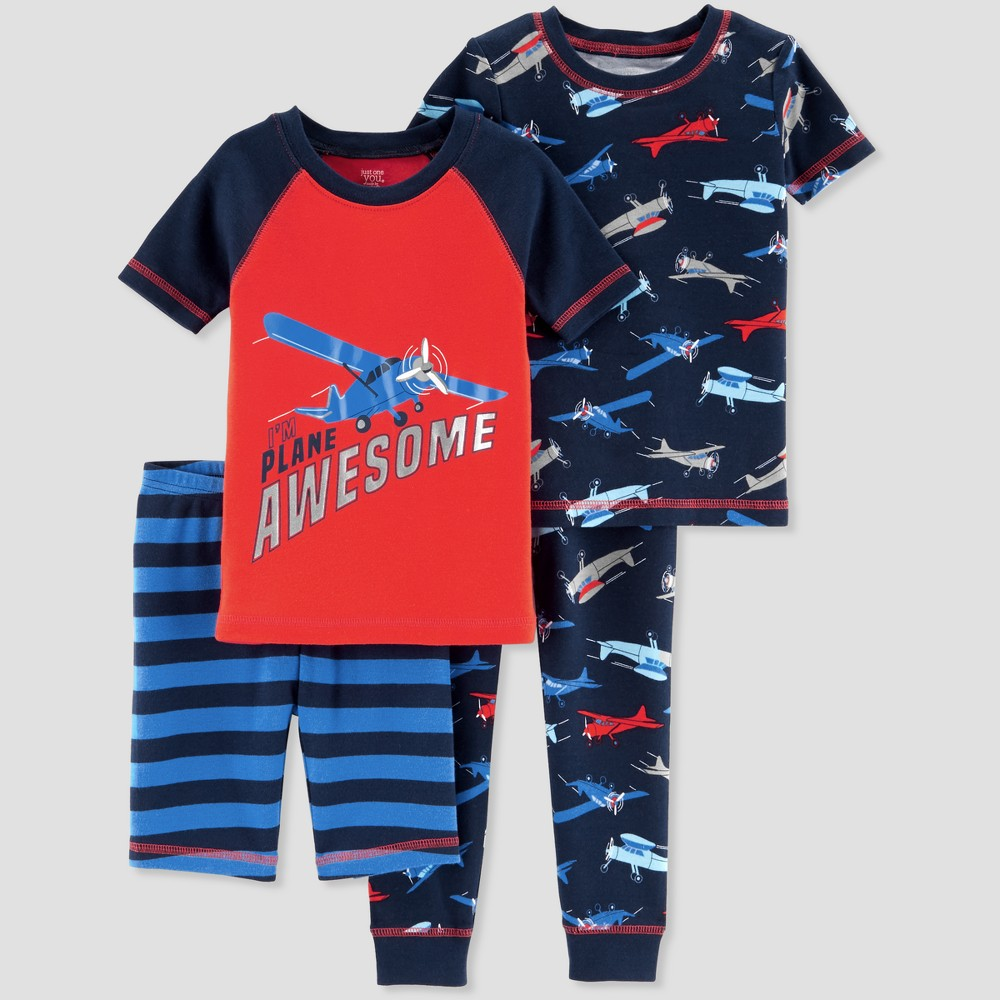 Baby Boys' 4pc I'm Plane Awesome Pajama Set - Just One You made by carter's Carbon 9M, Blue